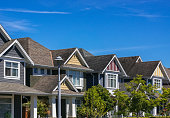 A row of a new houses in Richmond, British Columbia