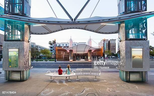 Modern illuminated urban transit street in Long Beach, California