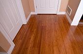 Modern interior bamboo hardwood flooring after renovation angled view