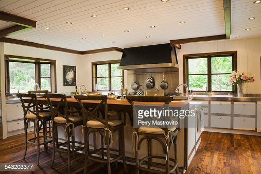Modern Interior Design Luxury Country Style Kitchen With Island And Wooden Floor Stock Photo