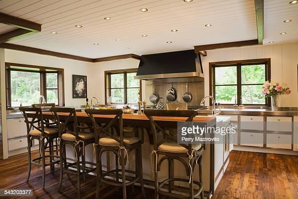 Modern interior design luxury country style kitchen with kitchen island and wooden floor