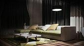 Modern interior design of living room, green
