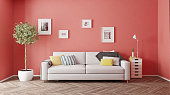 modern interior design. Living coral  concept. 3d rendering