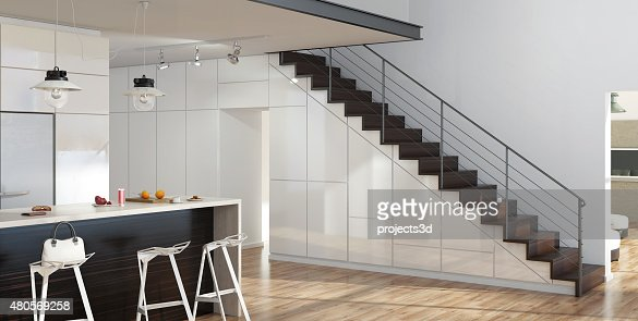 modern interior living room with kitchen and stairs stock photo
