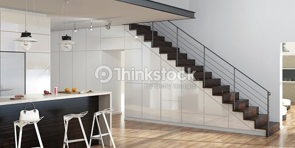 modern interior living room with kitchen and stairs stock photo thinkstock. Black Bedroom Furniture Sets. Home Design Ideas