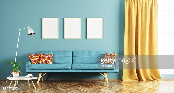 Modern interior of living room 3d rendering : Stock Photo