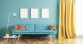 Modern interior design of living room with blue sofa, coffee table, frames and window 3d rendering