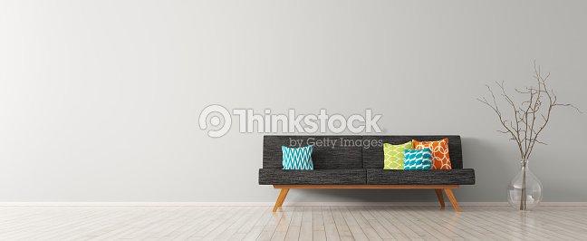 Intérieur Moderne De Salon Avec Canapé Noir Rendu 3d Photo   Thinkstock