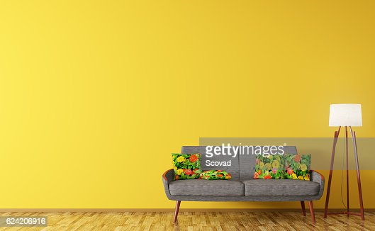 Modern interior of living room with sofa 3d rendering : Stock Photo