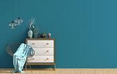 Modern interior with dresser. Wall mock up. 3d illustration.