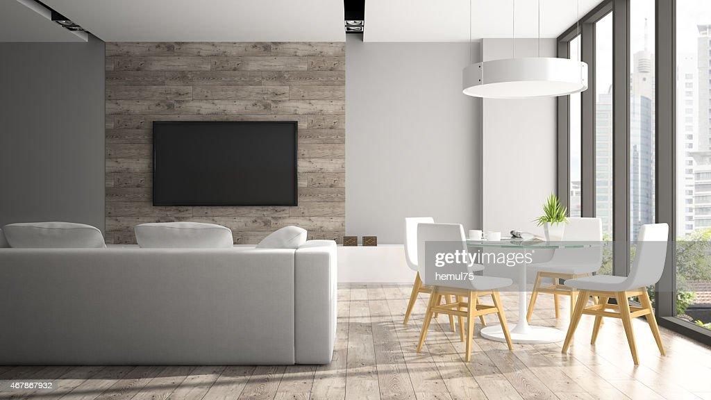 Interni moderni con sedie bianche fout di rendering d foto stock