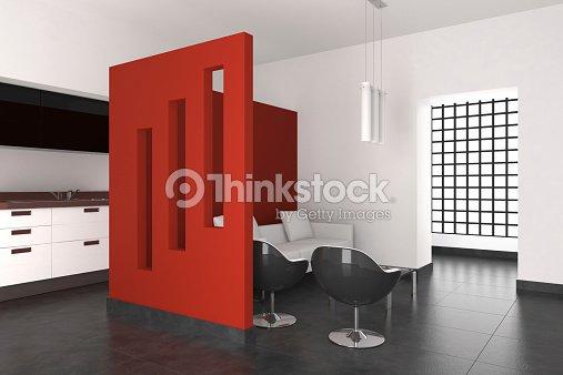 Moderno interior de una sala de estar y cocina foto de for Casa minimalista rojo