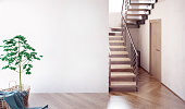 Modern interior with stairs. 3d illustration. Mock up wall