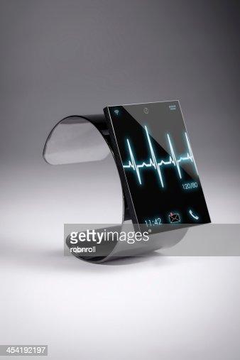 Reloj inteligente moderno de Internet sobre un fondo gris : Foto de stock