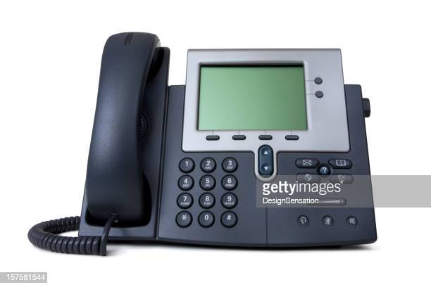 Modern IP telephone on white backdrop