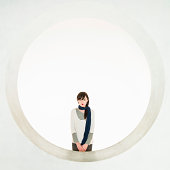 Modern Japanese Geisha Illuminated Circle Portrait