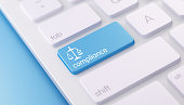 High quality 3d render of a modern keyboard with blue compliance button on a blue background and copy space. Blue compliance keyboard button has a text  and an icon on it. Compliance keyboard button i