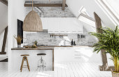 Modern kitchen in attic, Scandi-boho style, 3d render