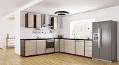 Interior of modern kitchen, fridge,dishwasher,oven 3d rendering