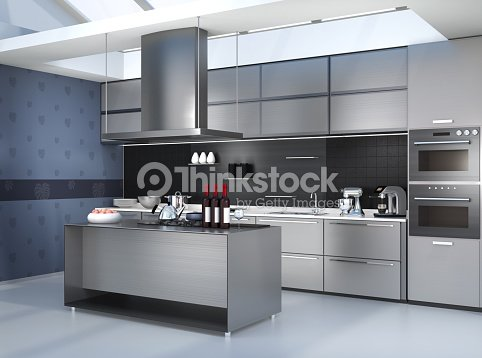 Modern Kitchen Interior With Smart Appliances In Silver Color ...
