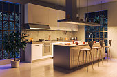3D Render Image of a Modern Kitchen Night Scene