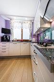 Modern kitchen interior design in lavender, violet  finishing