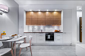 Modern kitchen interior design in white finishing