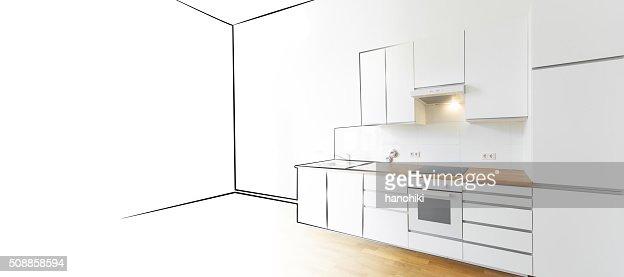 Modern Kitchen Sketch And Photo Interior Design Concept Stock Photo