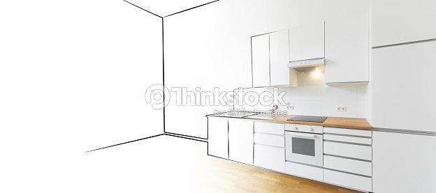 Modern kitchen sketch and photo interior design concept for Innenarchitektur zeichnen