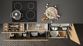 Modern kitchen top view, opened drawers and stove with cooking pan, minimalist interior design