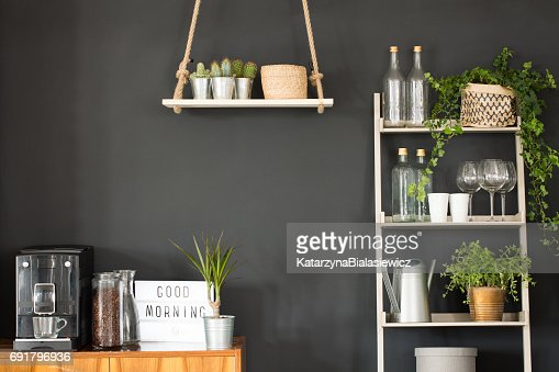 Modern kitchen with black wall : Stock Photo