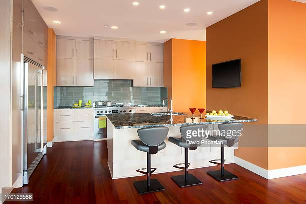 Modern kitchen with colorful walls