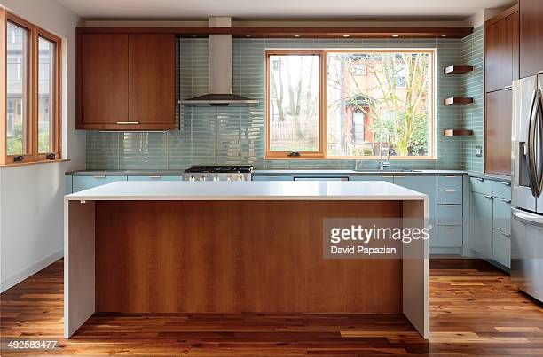 Modern kitchen with solid surface island