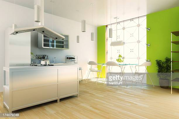 Modern kitchen with white and lime green walls