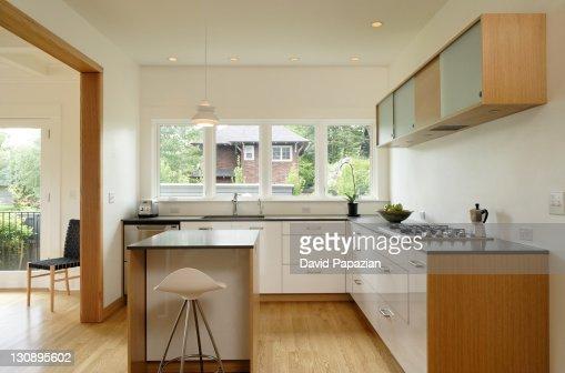 Modern kitchen with wood trim : Stock Photo