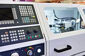 Modern lathe with CNC and workpiece