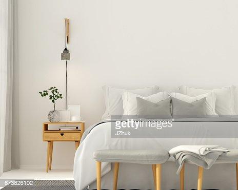 Modern light gray bedroom interior : Stock Photo