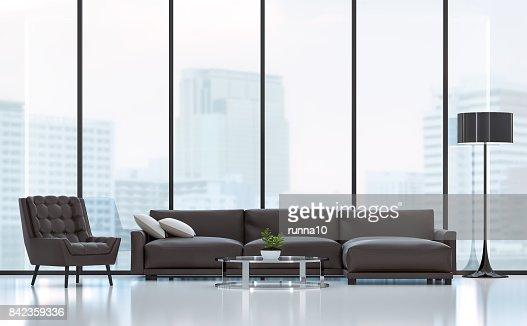 Modern living room 3D rendering image : Stock Photo