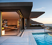 Modern living room and patio next to swimming pool