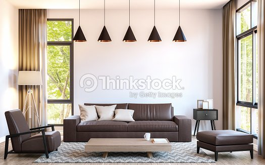. Modern Living Room Decorate With Brown Leather Furniture 3d
