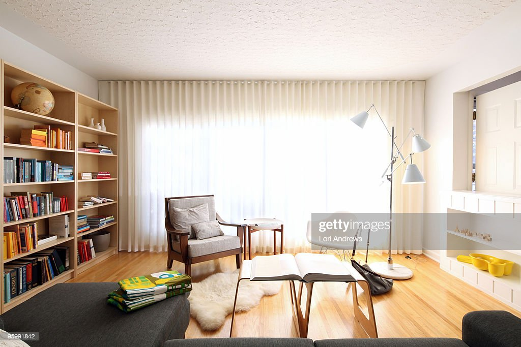 Modern living room drapes : Stock Photo