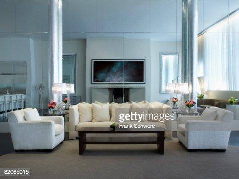Modern living room in New York City apartment. : Stock Photo