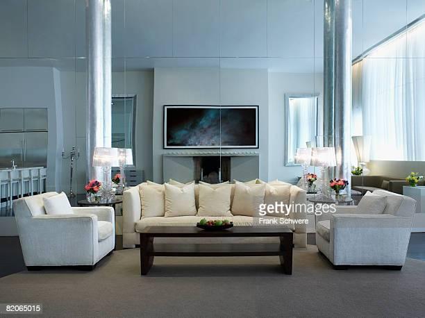 Modern living room in New York City apartment.