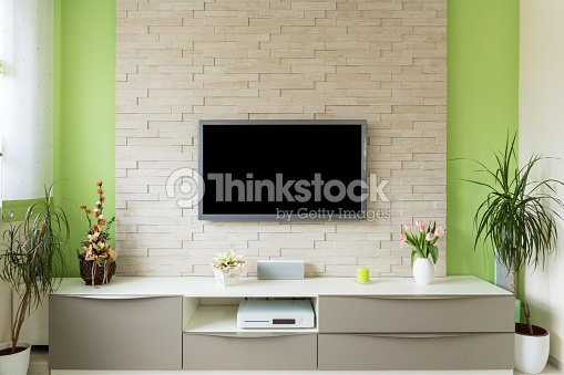 Moderne Wohnzimmer Interieur Tv Auf Ziegelwand Mit Schwarzen ...