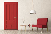 Modern interior of living room with red door, armchair and coffee table 3d rendering