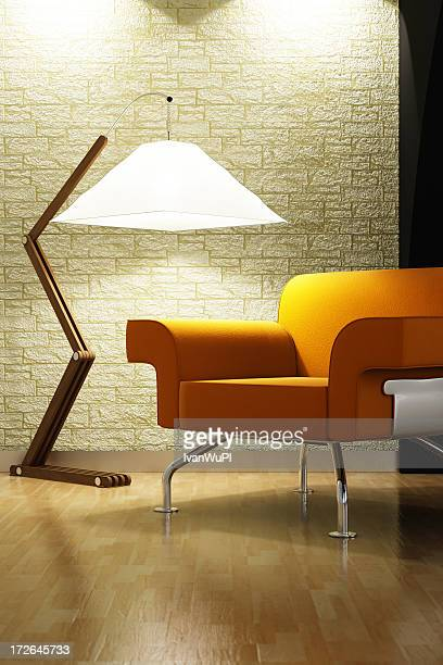 Modern living room interior with triangle lamp and couch
