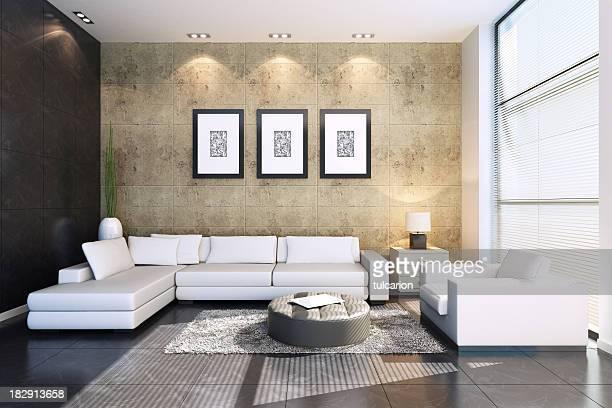 Moderne Wohnzimmer Steinmauern