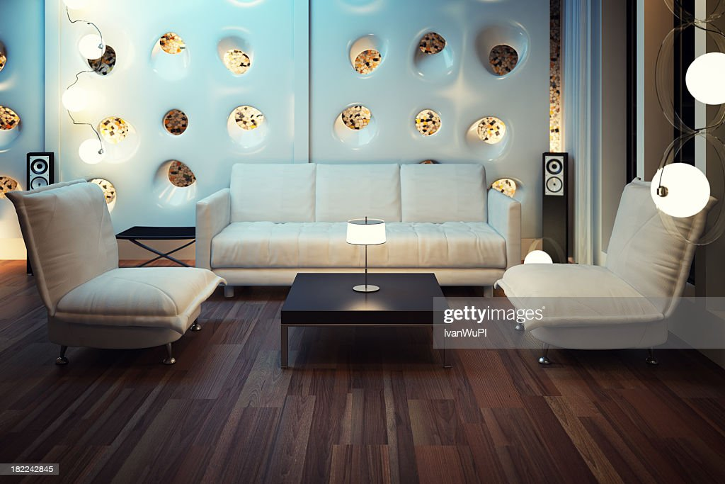 Modern living room with 3D render : Stock Photo