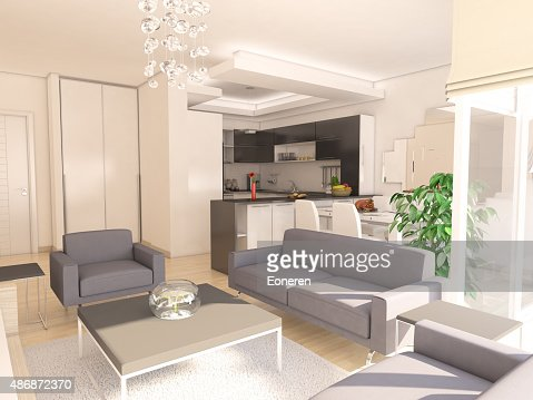 Modern Living Room With American Kitchen Stock Photo Thinkstock