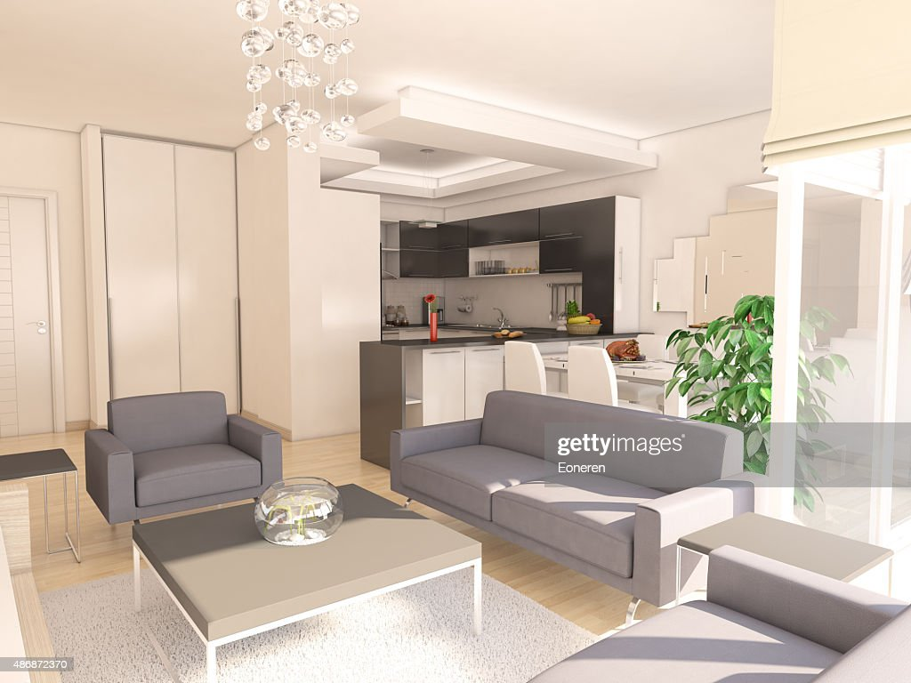 Modern Living Room With American Kitchen : Stock Photo